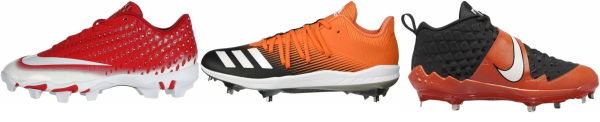buy orange baseball cleats for men and women
