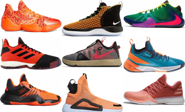 buy orange basketball shoes for men and women