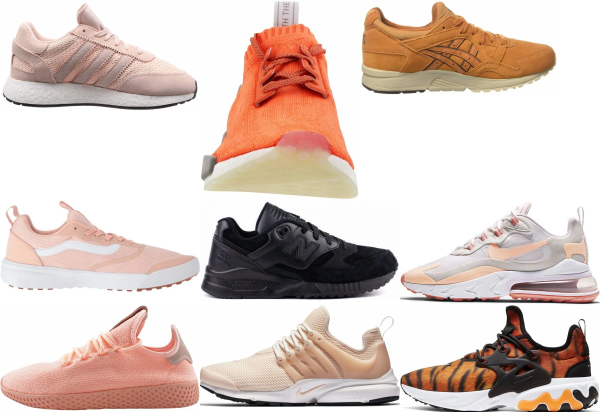 buy orange breathable sneakers for men and women