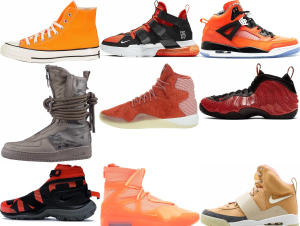 buy orange high top sneakers for men and women