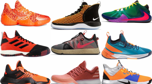 buy orange lace-up basketball shoes for men and women