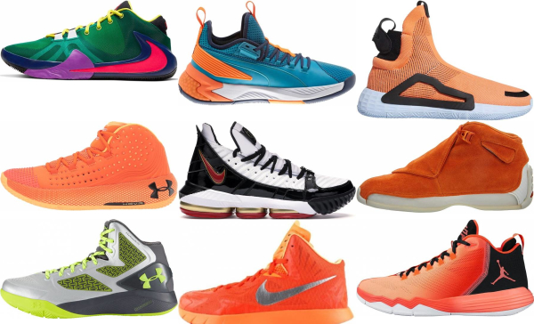 buy orange mid basketball shoes for men and women
