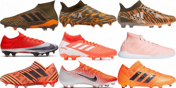 buy orange soccer cleats for men and women