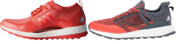 buy orange spikeless golf shoes for men and women