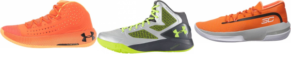 buy orange under armour basketball shoes for men and women