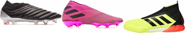buy pink laceless soccer cleats for men and women