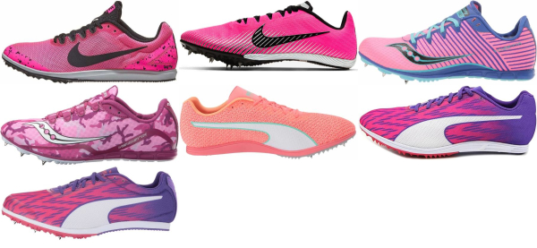 buy pink mid distance track & field shoes for men and women