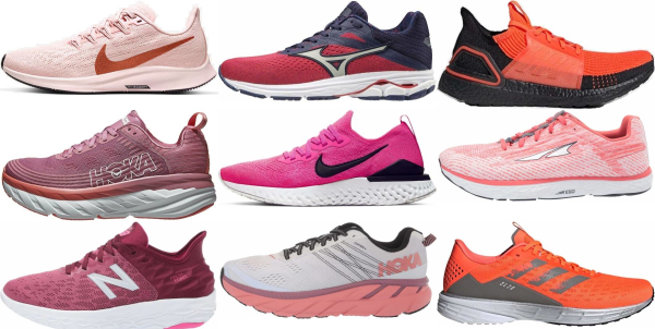 buy pink road running shoes for men and women