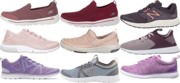 buy purple cushioned walking shoes for men and women