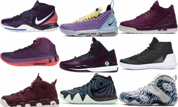 buy purple mid basketball shoes for men and women