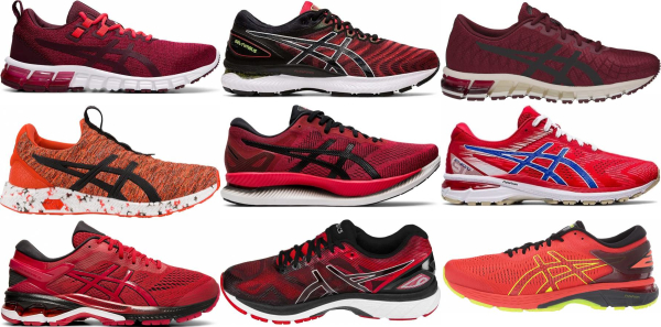 buy red asics running shoes for men and women