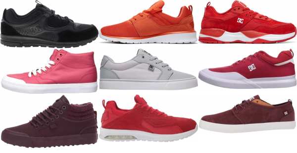 buy red dc sneakers for men and women