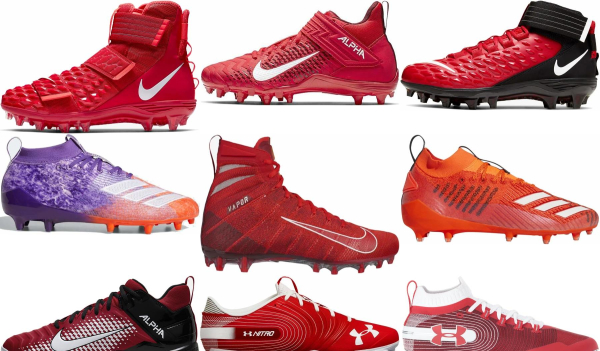 buy red football cleats for men and women
