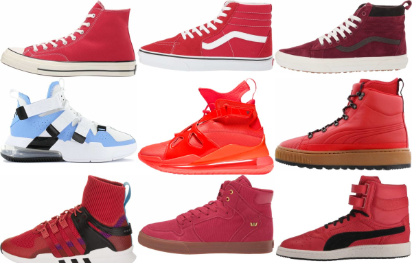 buy red high top sneakers for men and women