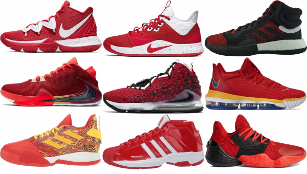 buy red lace-up basketball shoes for men and women