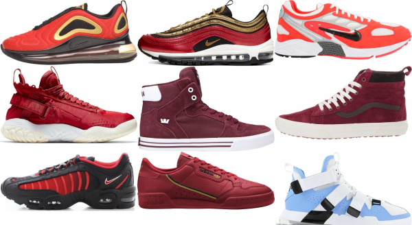 buy red leather sneakers for men and women