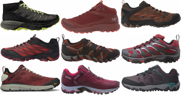 buy red lightweight hiking shoes for men and women