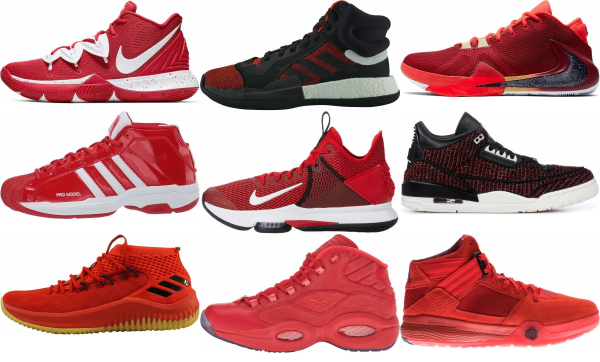buy red mid basketball shoes for men and women
