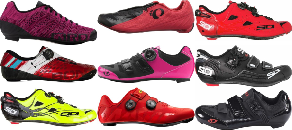buy red road cycling shoes for men and women