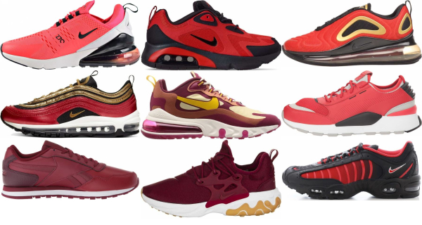 buy red running sneakers for men and women