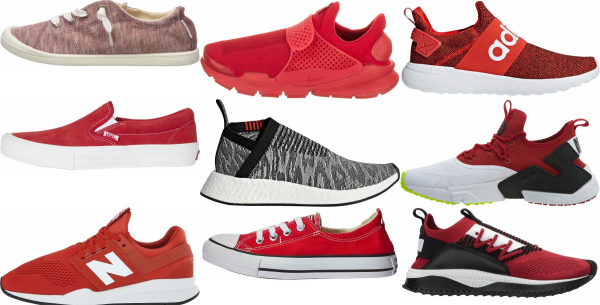 buy red slip-on sneakers for men and women