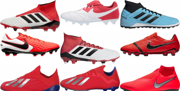 buy red soccer cleats for men and women