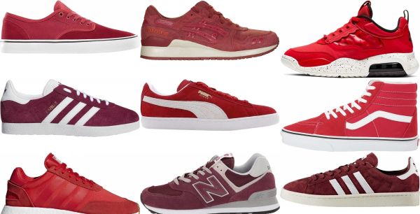 buy red suede sneakers for men and women