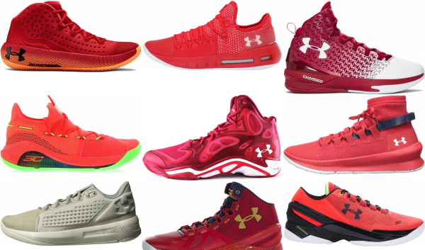 buy red under armour basketball shoes for men and women