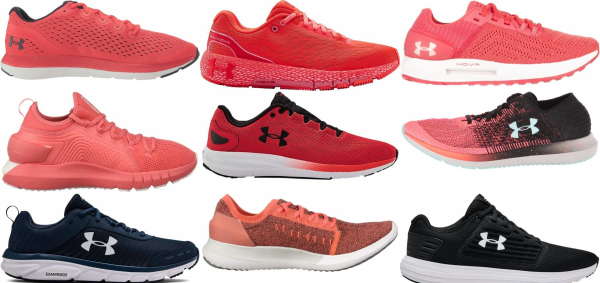 buy red under armour running shoes for men and women