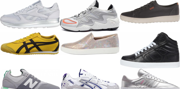 buy silver leather sneakers for men and women