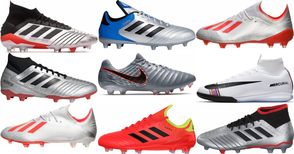 buy silver soccer cleats for men and women