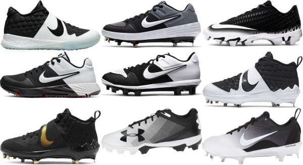 buy synthetic leather  black baseball cleats for men and women