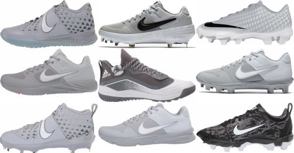 buy synthetic leather  grey baseball cleats for men and women