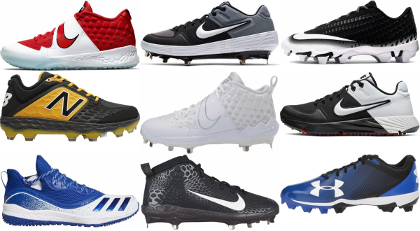 buy synthetic leather  lace-up baseball cleats for men and women