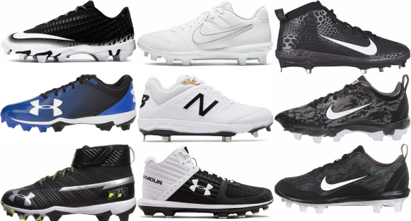 buy synthetic leather  molded plastic baseball cleats for men and women