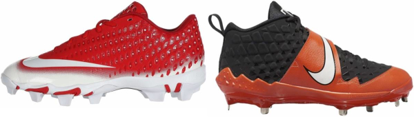 buy synthetic leather  orange baseball cleats for men and women