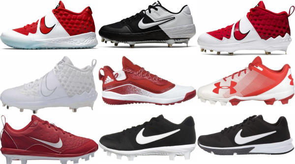 buy synthetic leather  red baseball cleats for men and women