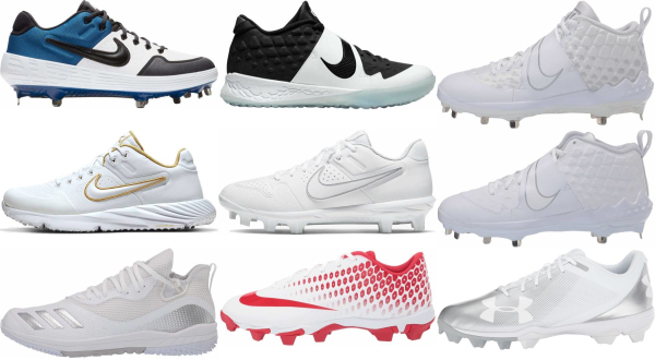 buy synthetic leather  white baseball cleats for men and women