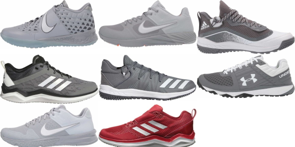buy turf/ trainer grey baseball cleats for men and women