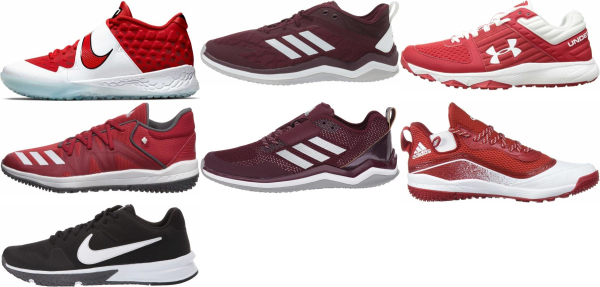 buy turf/ trainer red baseball cleats for men and women