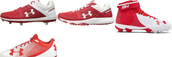 buy under armour red baseball cleats for men and women