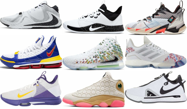 buy white lace-up basketball shoes for men and women