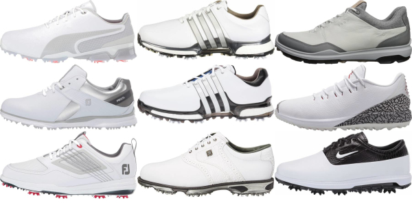 buy white leather upper golf shoes for men and women
