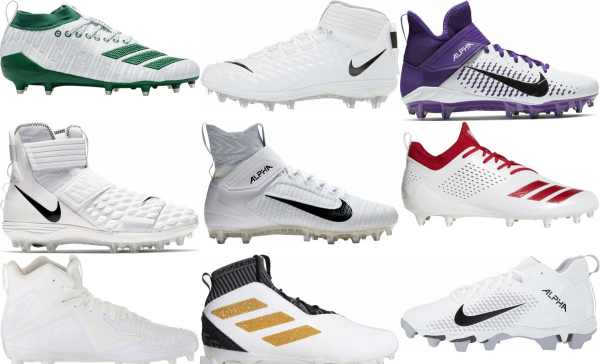 buy white molded football cleats for men and women
