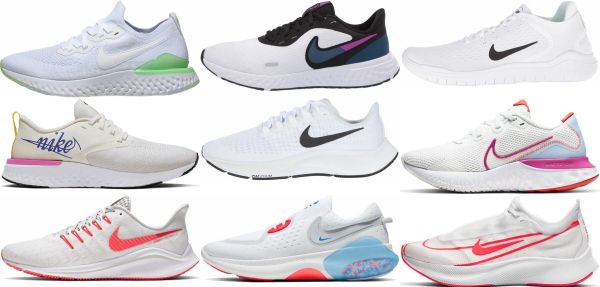buy white nike running shoes for men and women