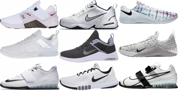 buy white nike training shoes for men and women