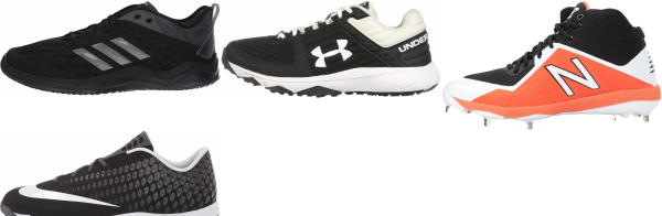 buy wide black baseball cleats for men and women