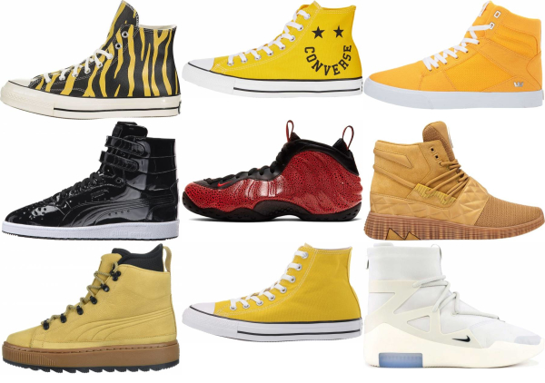 buy yellow high top sneakers for men and women