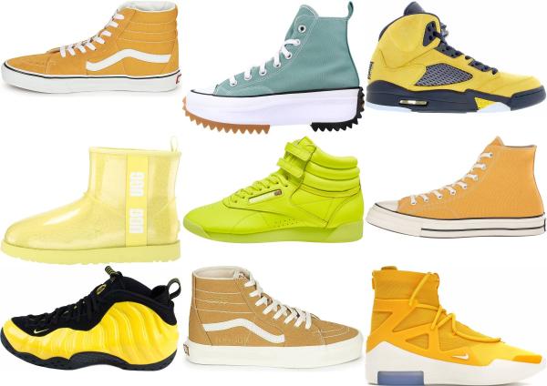 buy yellow high top sneakers for men and women