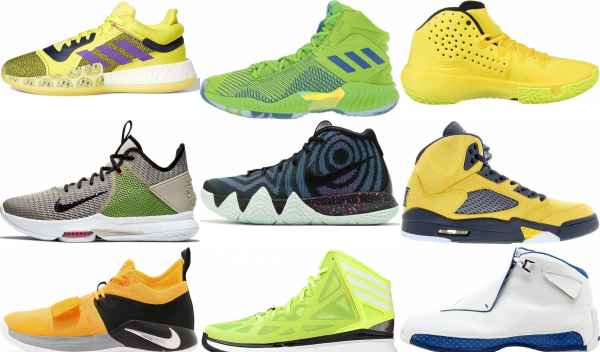 buy yellow lace-up basketball shoes for men and women